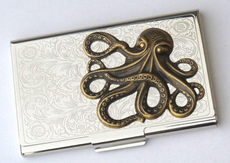 Steampunk Business Card Case Brass Octopus Card Case Vintage image 0