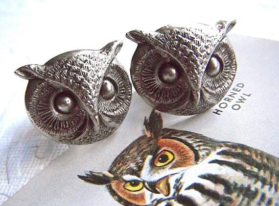 Hoot Owl Cufflinks BIG & BOLD Statement Cufflinks Rustic Antiqued Silver Plated Steampunk Cufflinks Round Owl Large Size