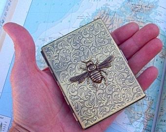 Metal Cigarette Case Antiqued Brass Bee Case Vintage Inspired Art Nouveau Gothic Victorian Steampunk Style Large Slim Card Case
