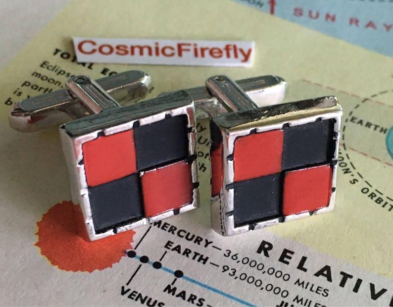 Men's Vintage Cufflinks Checkerboard Cufflinks Steampunk image 0
