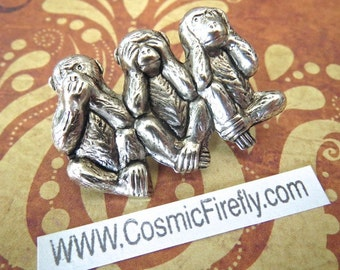 Silver Monkeys Pin Monkey Brooch Steampunk Pin Steampunk Brooch Speak No Evil See Hear No Evil Monkey Steampunk Accessories Cosplay Pin