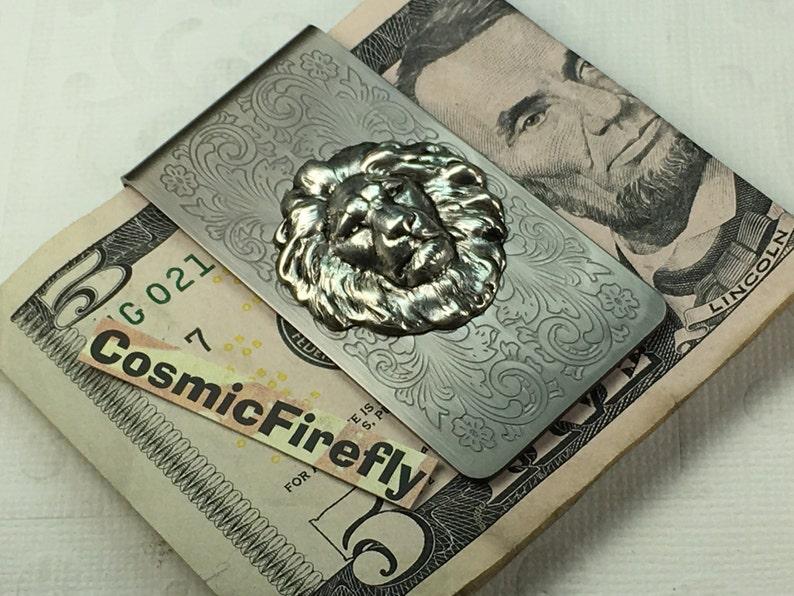 Antiqued Silver Lion Money Clip Steampunk Money Clip Gothic image 0