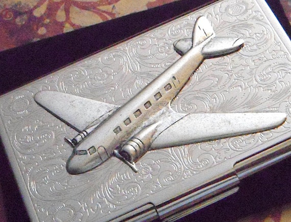 Steampunk Carte De Visite Affaire Argent Avion Etui Style