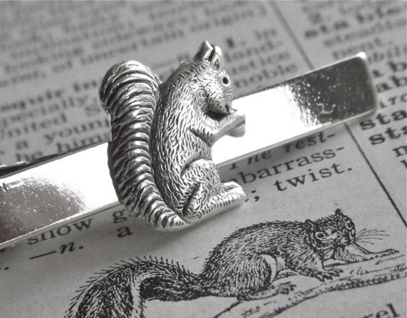 Squirrel Tie Clip Woodland Animal Silver Plated Vintage image 0