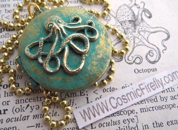 Octopus Locket Necklace Octopus Necklace Primitive Finish Round Locket Steampunk Necklace Silver /& Gold