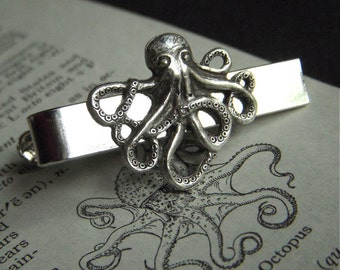 Octopus Tie Clip Silver Tie Clip Gothic Victorian Steampunk Style Vintage Inspired Men's Accessories By Cosmic Firefly