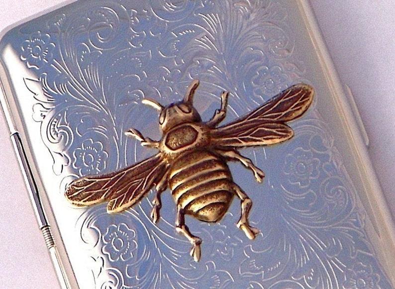 Bee Cigarette Case Business Card Case Credit Card Holder Metal image 0