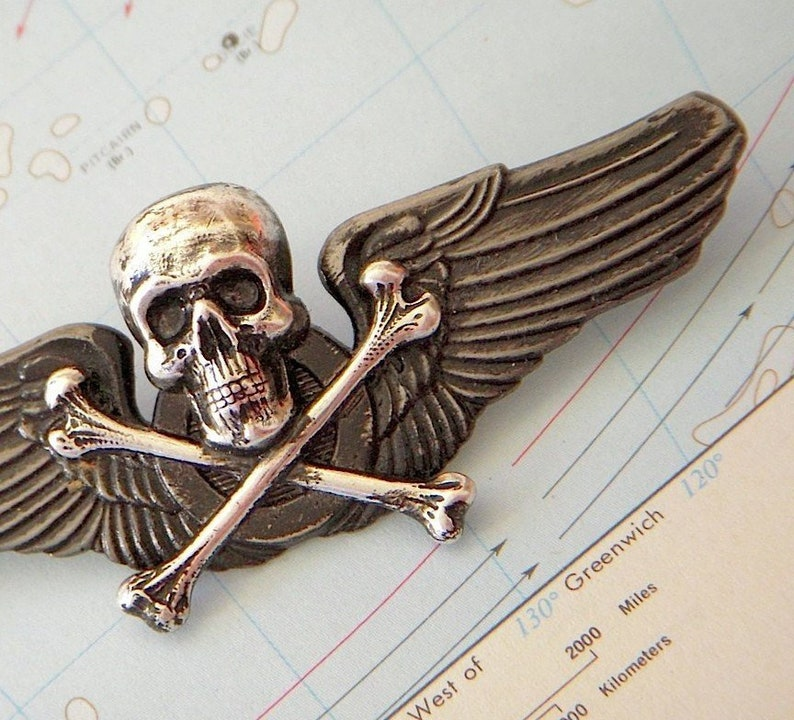 Steampunk Pin Wings Skull & Crossbones Gothic Victorian Metal image 0