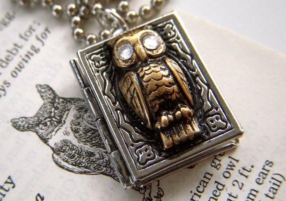 Owl Locket Necklace Vintage Inspired Mixed Metals Rustic Primitive Finish Tiny Swarovski Eyes