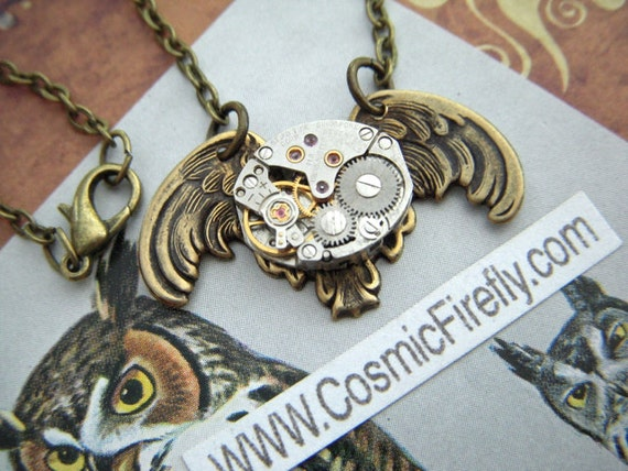 Steampunk Necklace Antiqued Brass Owl Gothic Victorian Inspired Vintage Watch Movement Mechanical Steampunk Owl Necklace