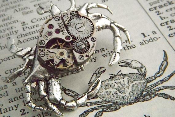 Steampunk Pin Silver Crab Brooch Vintage Movement Rustic | Etsy