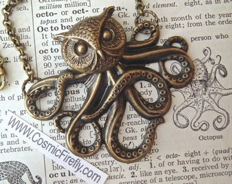 Owl Octopus Necklace Victorian Monster The Owlctopus Half Owl Half Octopus Rustic Brass Rolo Chain Original Design Gothic Steampunk Necklace