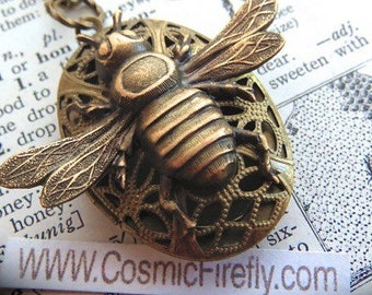 Brass Bee Necklace Rustic Locket Vintage Inspired Gothic Victorian Antiqued Brass Locket Lightweight Primitive Finish