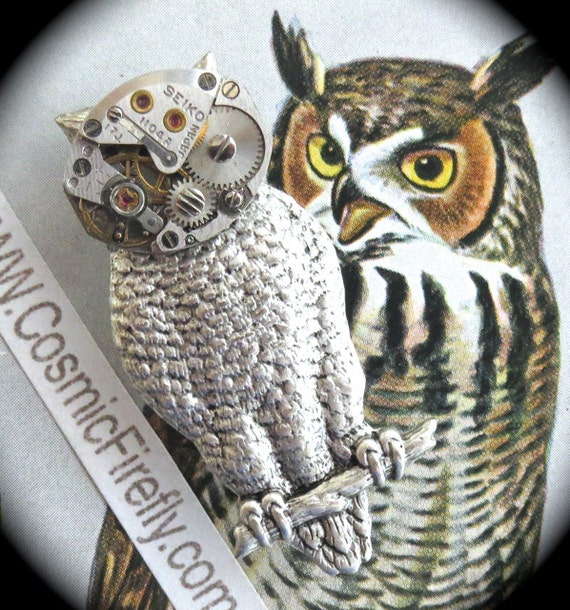 Steampunk Pin Robot Owl Brooch Silver Owl Pin Vintage Watch Movement Handcrafted Art Jewelry