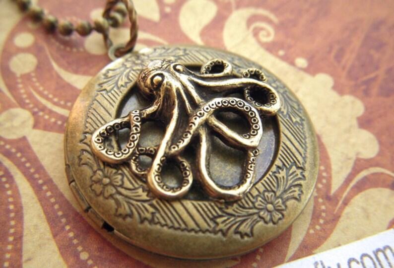 Round Brass Octopus Locket Necklace Nautical Steampunk Gift image 0