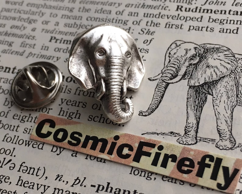 Elephant Tie Tack Silver Plated Lapel Pin Gothic Victorian image 0