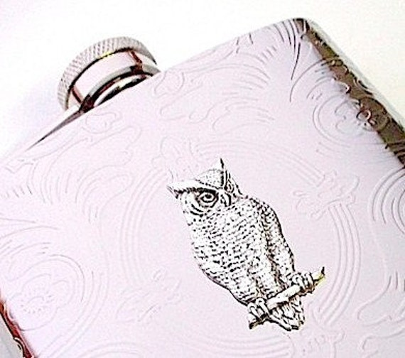 Silver Plated Owl Flask Stainless Steel Metal Flask Holds 6 oz Vintage Victorian Scroll Pattern Handcrafted Cosmic Firefly Hip Pocket Flask