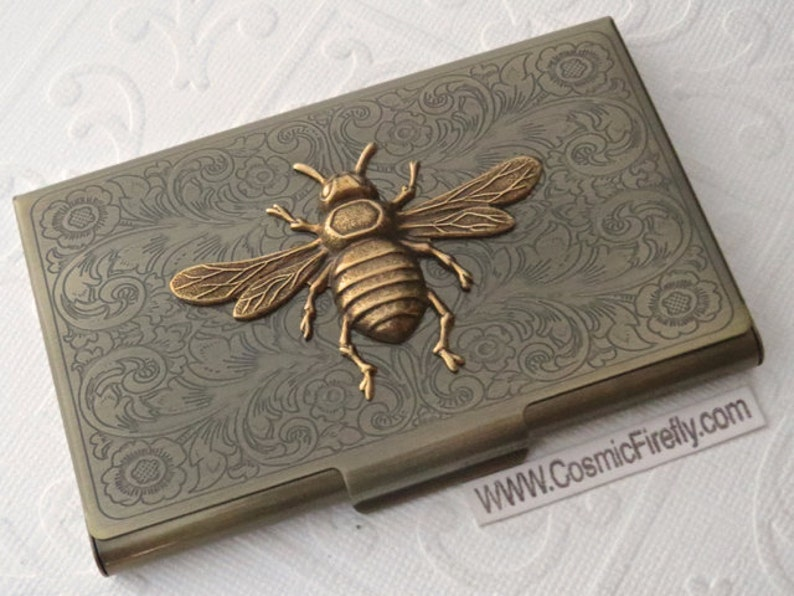 Brass Bee Business Card Case Bee Case Vintage Style Steampunk image 0