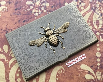 Brass Bee Business Card Case Antiqued Brass Card Case Vintage Inspired Victorian Steampunk Card Case Slim Card Case Bee Case Fancy Card Case