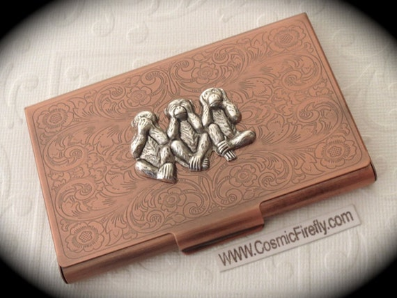 Copper Business Card Case Silver Monkeys Steampunk Card Case Etsy