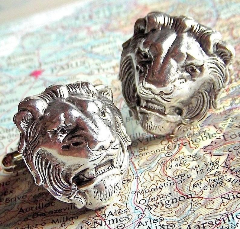 Men's Cufflinks Silver Lion Cufflinks Vintage Inspired BIG image 0