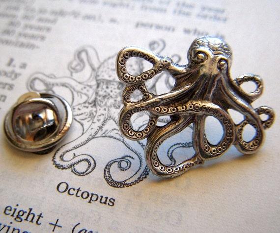 Steampunk Tie Pin Octopus Tie Tack Octopus Tie Pin Nautical Tie Pin Gifts for Men Steampunk Octopus Tie Clip Steampunk Octopus Pin