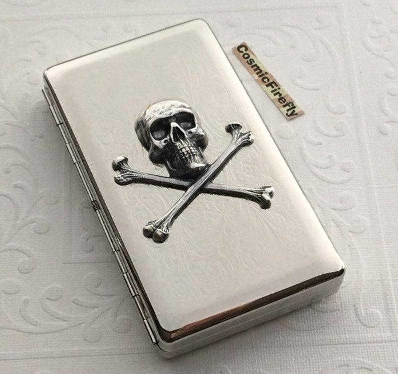 NEW Silver Plated Skull Cigarette Case Victorian Skull & image 0