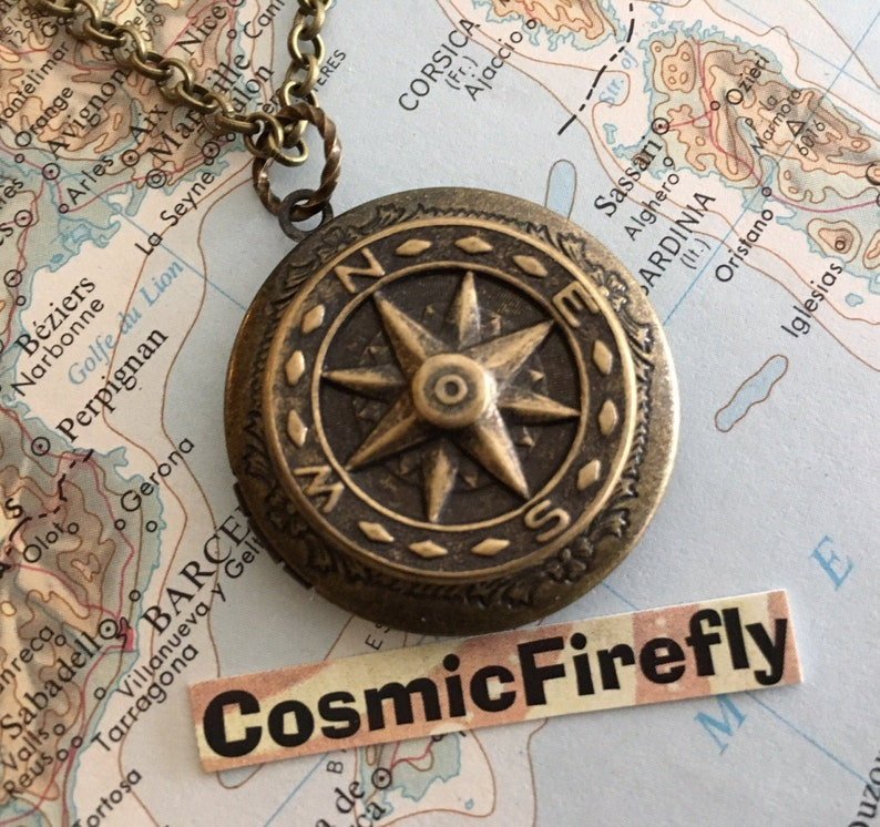 Brass Compass Locket Compass Necklace Antiqued Brass Locket image 0