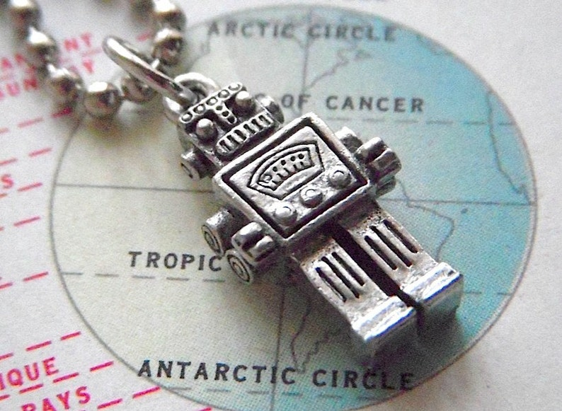 Tiny Robot Necklace Silver Tone Steampunk Jewelry image 0