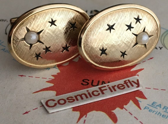 Vintage Celestial Star Cufflinks Outer Space Age M