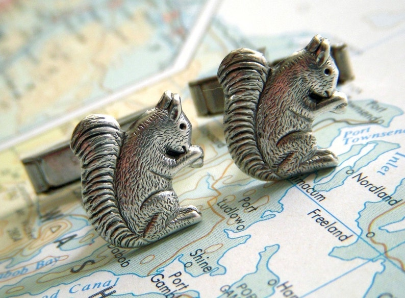 Squirrel Cufflinks Silver Plated Popular Vintage Inspired Tiny image 0