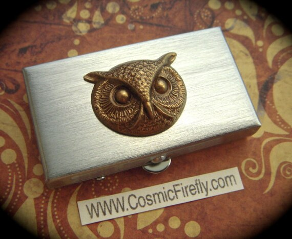 Brass Owl Pill Case Gothic Victorian Small Pill Case Silver Tone Pill Case Round Owl Woodland Owl Pill Box