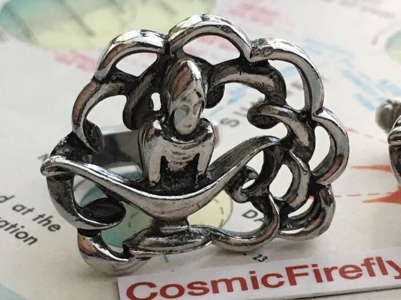Silver Plated Magic Genie Cufflinks Men/'s Cufflinks Alladin Cufflinks Genie Lamp Cosplay Cufflinks Mid Century Vintage Cufflinks