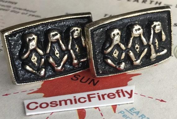 Mid Century Vintage Cufflinks Speak No Evil Monkeys 1950/'s Men/'s Steampunk Cosplay Accessories