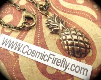 Small Brass Pineapple Necklace Antiqued Brass Metal Steampunk Necklace Tiki Necklace Lightweight Pineapple Charm Includes Brass Chain