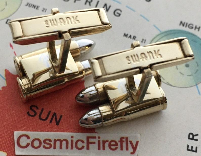 Mid Century Vintage Double Bullet Cufflinks 1950/'s SWANK Brand