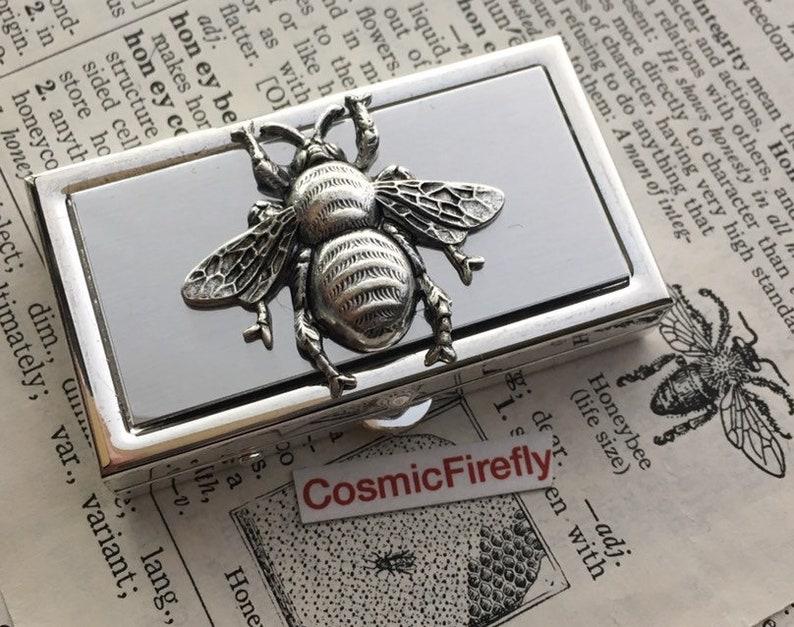 Silver Bee Pill Box Small Size Silver Tone Metal Pill Case image 0