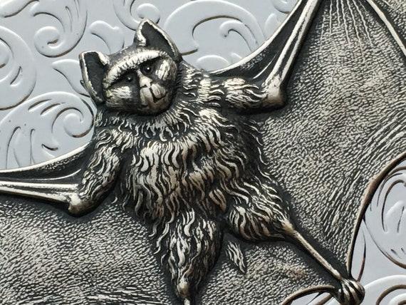 Argent Chauve Souris Vampire Carte De Visite Affaire Plaque Dinspiration Vintage Victorien Steampunk Bat Cas