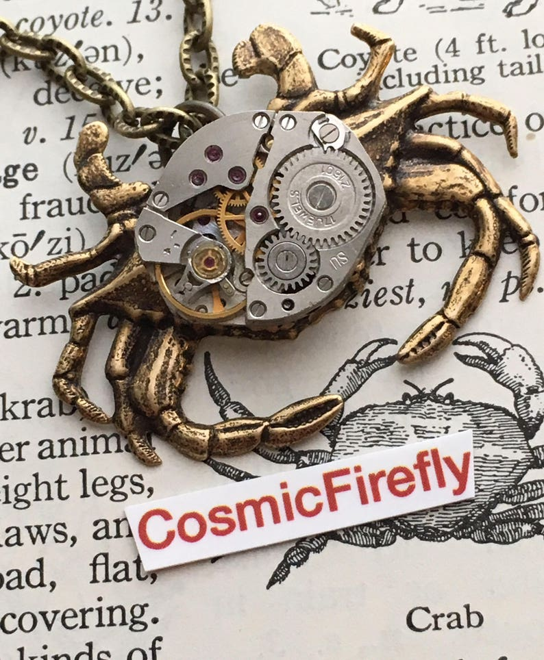 Steampunk Necklace Brass Crab Necklace Vintage Watch Movement image 0