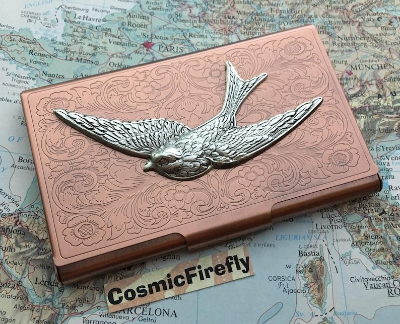 Copper Business Card Case Silver Bird Steampunk Card Case Bird image 0