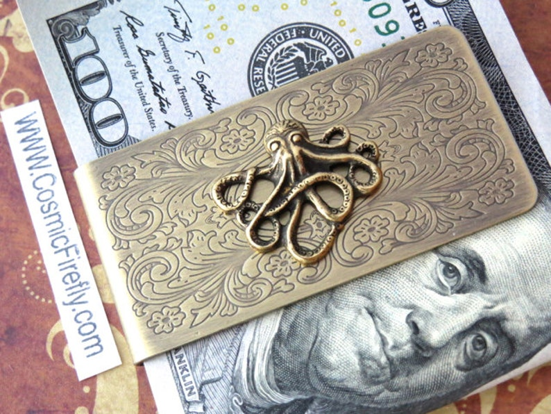 Brass Octopus Money Clip Steampunk Money Clip Men's Money image 0