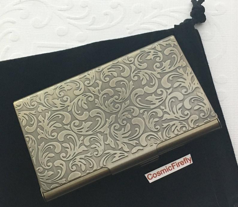 Card Holder Antiqued Brass Bronze Business Card Case Victorian image 0