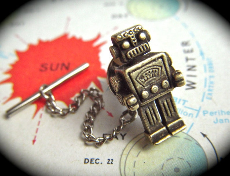 Robot Tie Tack Rustic Brass Tiny Popular Vintage Inspired image 0