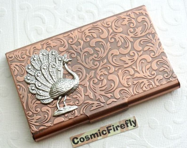 Fancy Peacock Business Card Case Holder Gothic Victorian Style image 0