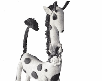 Stuffed Giraffe Toy PDF Sewing Pattern Full Size Vintage 50's Toy Reproduction Instant Download