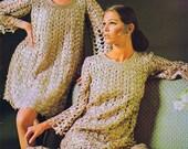 Crochet PDF Pattern Two Ribbon Dresses Sizes 8-18 Vintage 1960 39 s Mini Evening Reproduction Instant Digital PDF e-Pattern Download