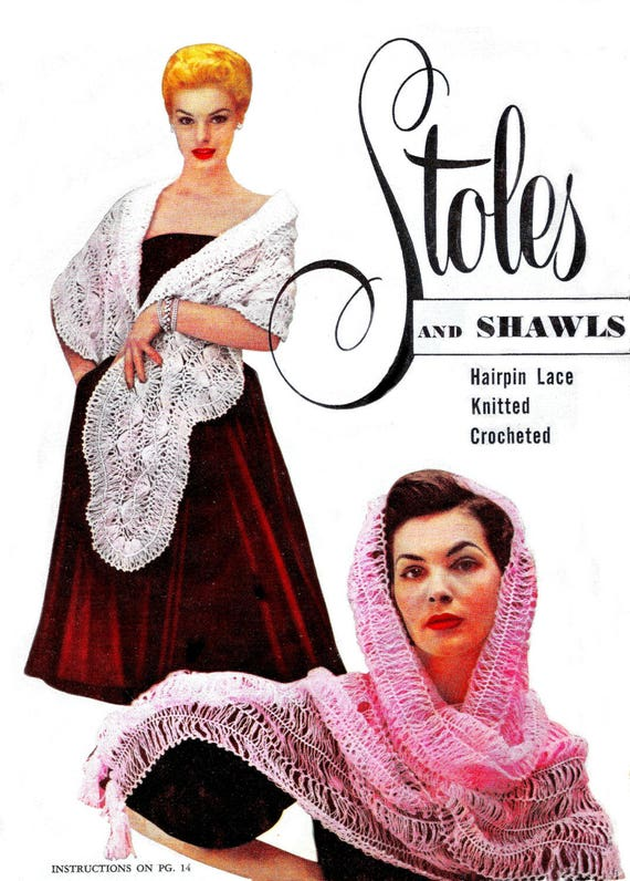 734469fd2c Vintage Stoles Shawls Shrugs Triangles Cover Ups Hairpin Lace