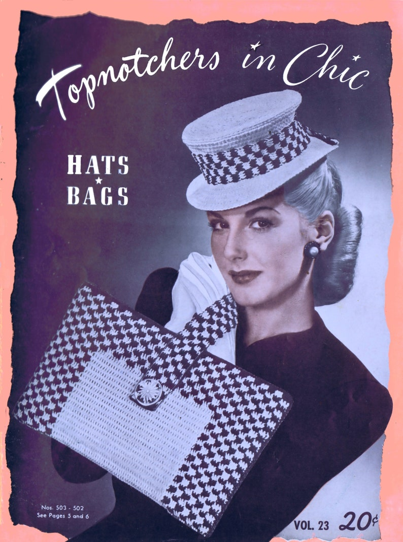 Vintage Crochet Hand Bag Hat PDF Patterns 1940's Top image 0