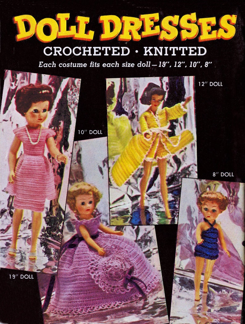 Vintage Patterns Knitted Crochet Doll Clothes Costume Fashion image 0