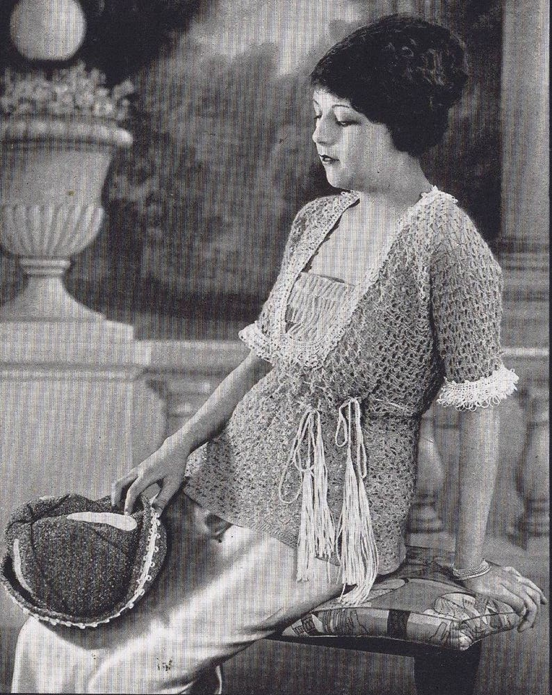 Vintage Knitting Crochet Patterns 1920s Sweaters Scarves ...